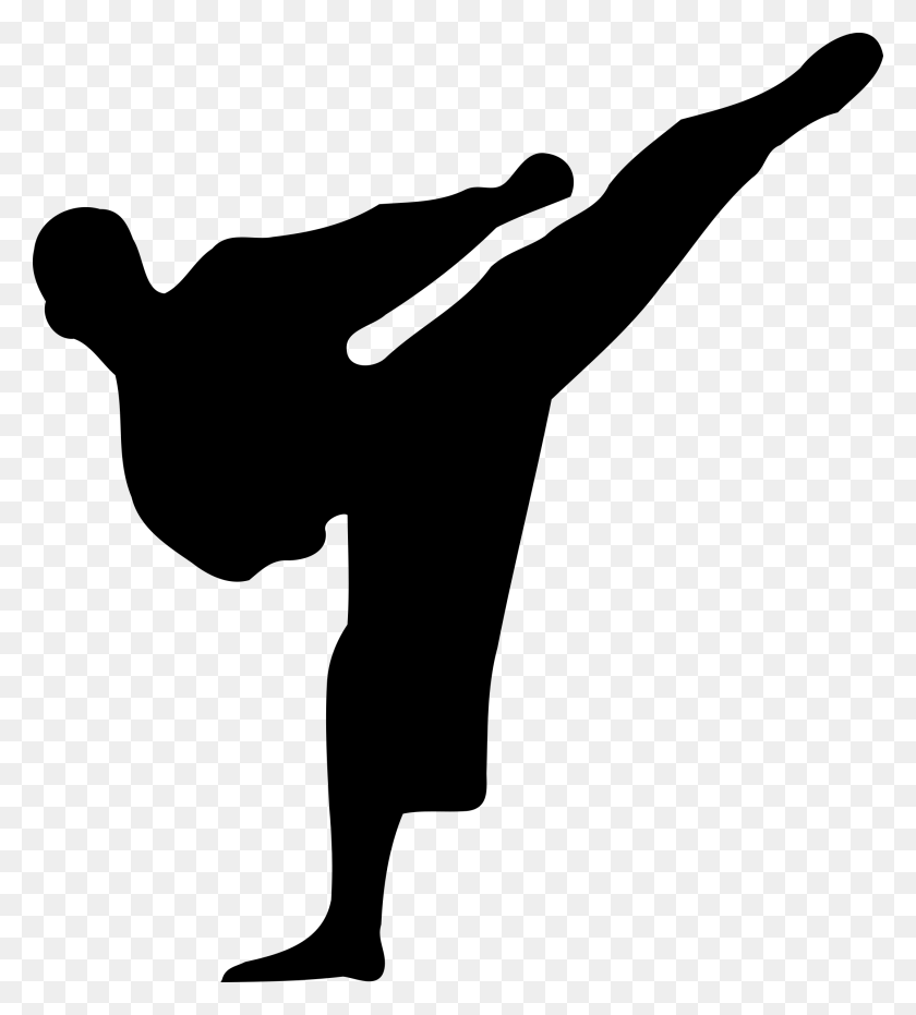 Karate Silhouette - Girl Kicking Soccer Ball Clip Art