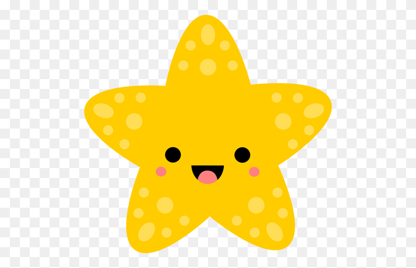 Kawaii Starfish Love Patterns, Prints Illustrations Kawaii - Starfish Clipart Transparent Background