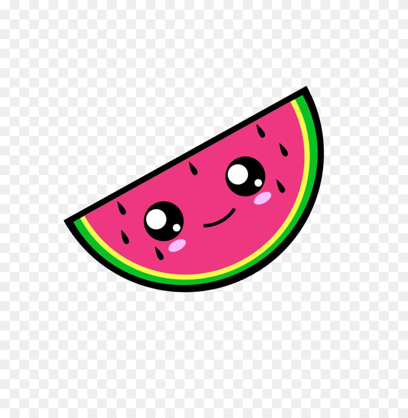 Kawaii Watermelon Vector Illustration Art - Watermelon Black And White Clipart