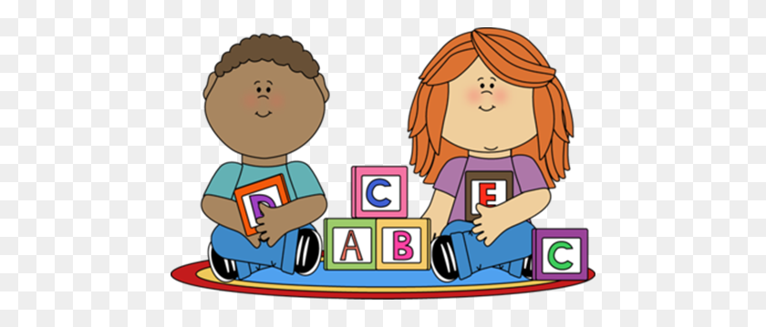 Kids Playing With Blocks Clip Art Image School - Skin Clipart