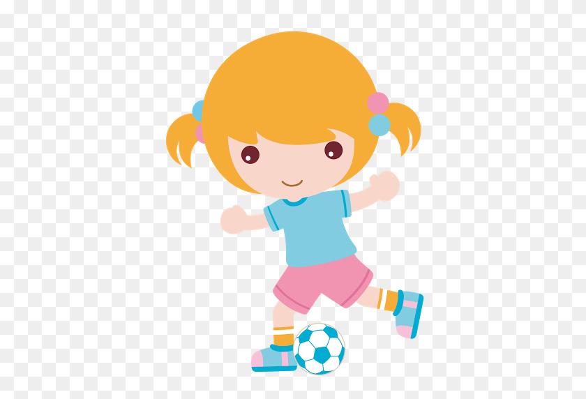 Kindergarten Soccer, Football - Girl Kicking Soccer Ball Clip Art