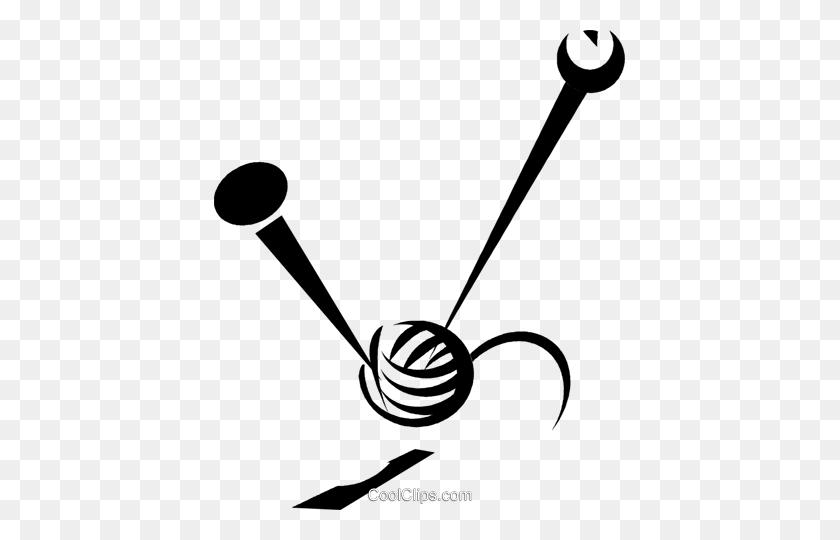 knitting needles and a ball of yarn royalty free vector clip art 330711