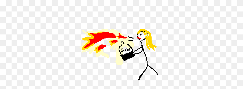Lady Blows Fire Breath With A Bottle Of Gin Drawing - Fire Breath PNG
