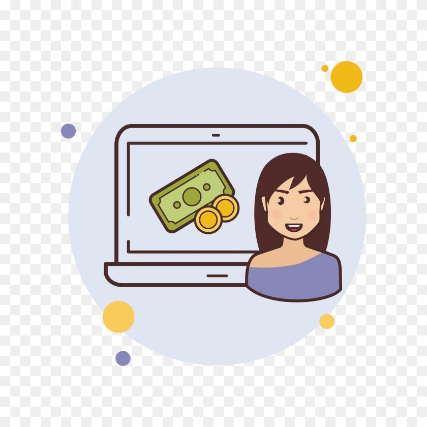 1600x1600 Laptop Cash Money Icon - Money Cartoon PNG