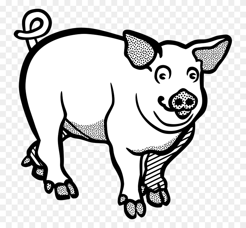 Large White Pig Clip Art Vector Graphics Image - Farm Animals Clipart Black And White