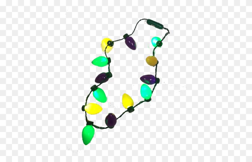 Led Mardi Gras Necklace Bulbs Bongo Flashers - Mardi Gras Beads PNG