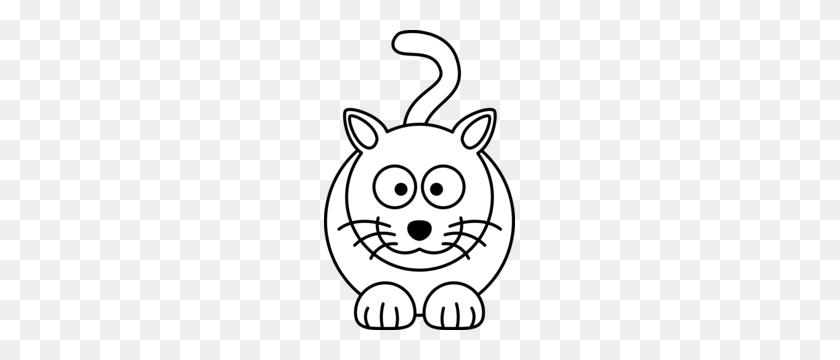 Lemmling Cartoon Cat Black White Line Art Coloring Book Colouring - Black And White Clipart Cat