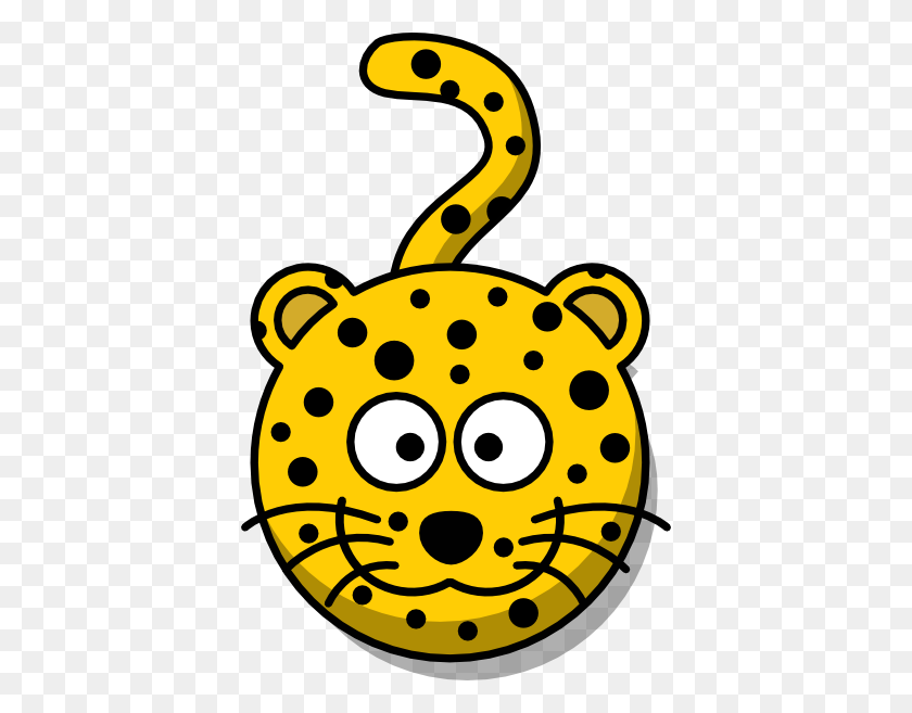 396x597 Leopard Head With Tail Clip Art - Tail Clipart