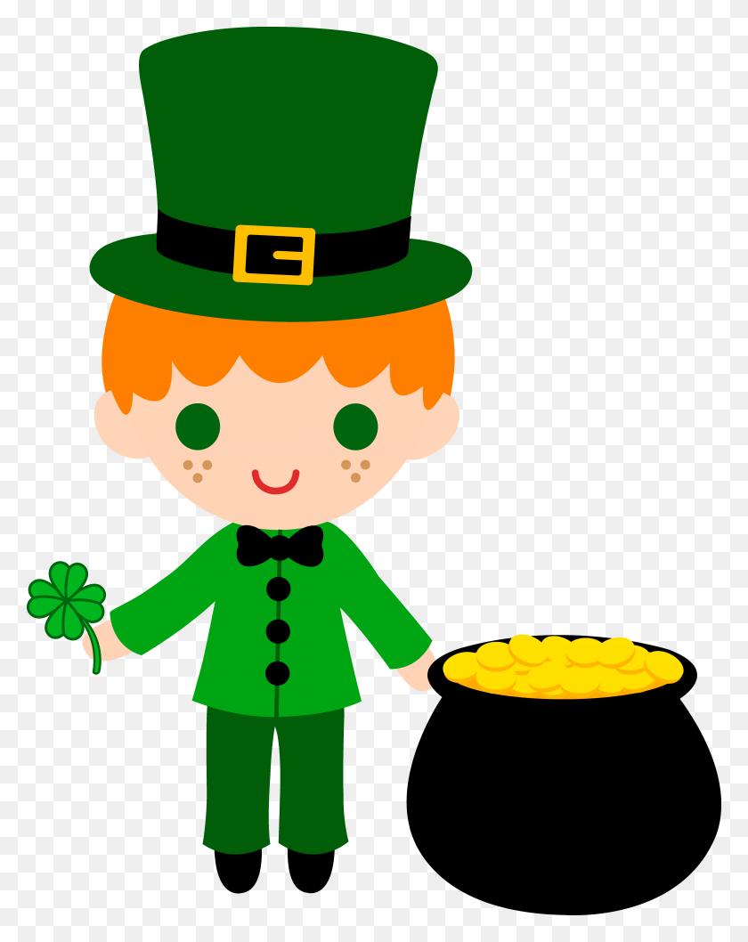 Leprechaun Boy With Pot Of Gold Saint Patrick Clipart Stunning