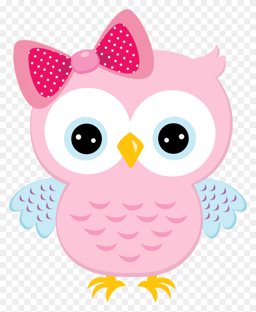 Light Pink Owl With Bow Molde Pink Owl, Owl And Lights - Baby Shower Clip Art Girl