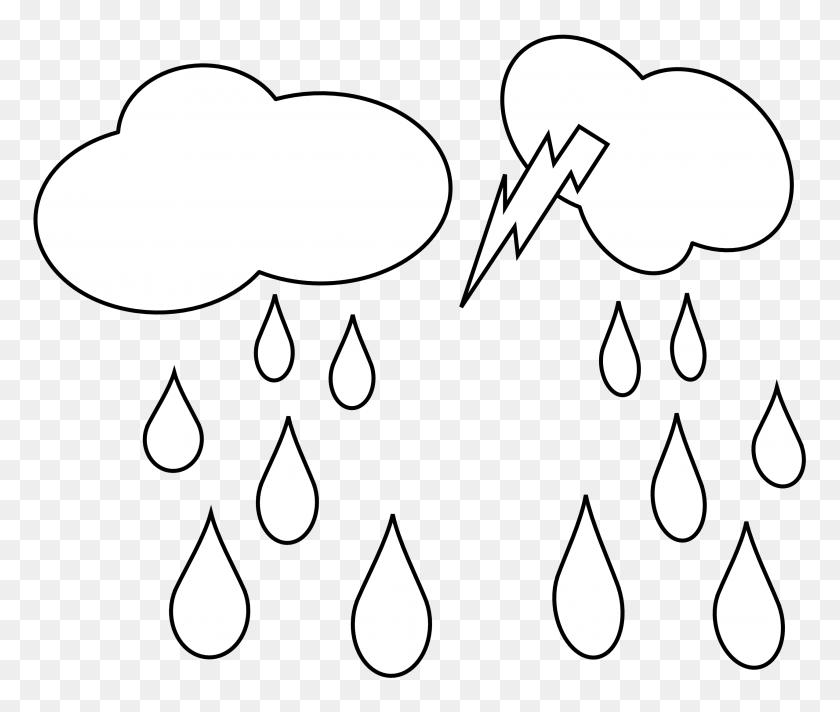 Lightning Clipart Rain Cloud - Hurricane Clipart Black And White