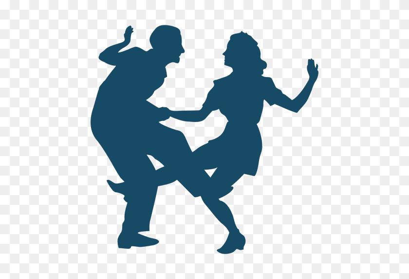 Lindy Hop Dance Big Kick Silhouette - Swing Dance Clip Art