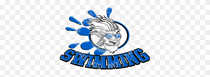 Lion Swimming - Lion Mascot Clipart