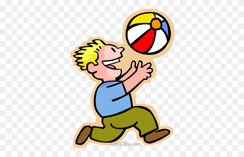 Little Boy With A Beach Ball Royalty Free Vector Clip Art - No Throwing Toys Clipart