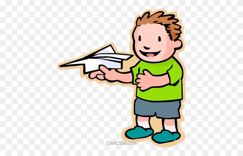 Little Boy With A Paper Plane Royalty Free Vector Clip Art - Paper Airplane Clipart