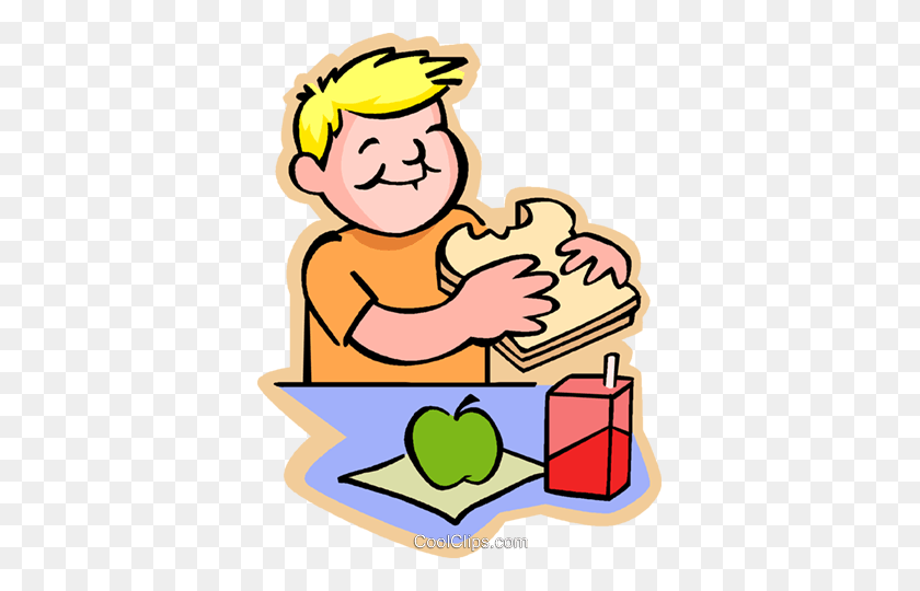 369x480 Little Boy With A Sandwich Royalty Free Vector Clip Art - Sack Lunch Clipart