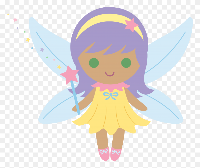 7580x6272 Little Fairy With Purple Hair - Free Fairy Clipart