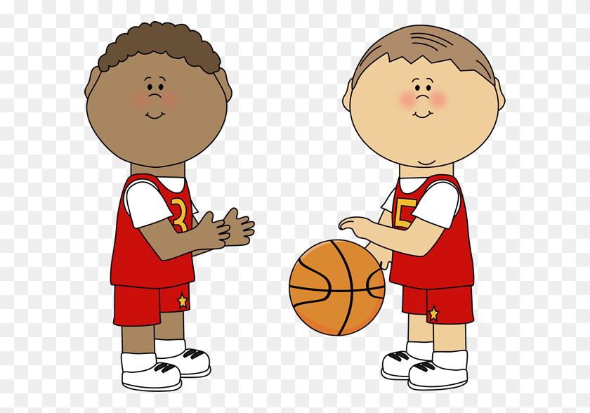 Little Girl Clip Art Basketball - Basketball And Hoop Clipart