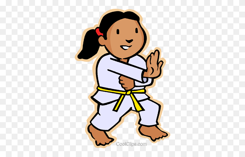 Little Girl In Martial Arts Royalty Free Vector Clip Art - Martial Arts Clipart