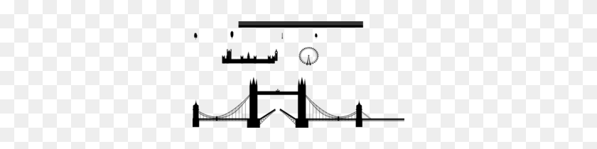 298x150 London Skyline, London Eye, Tower Bridge Clip Art - London Eye Clipart