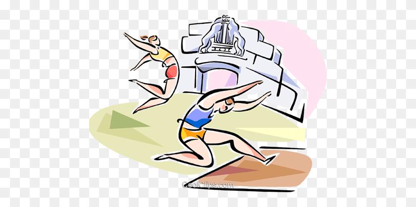 Long Jumpers Royalty Free Vector Clip Art Illustration - Long Jump Clipart