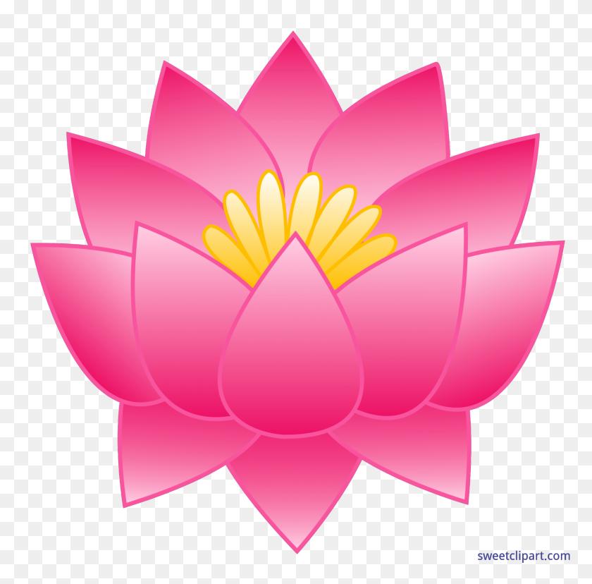 5584x5505 Lotus Flower Pink Clip Art - Pink Flower Clipart