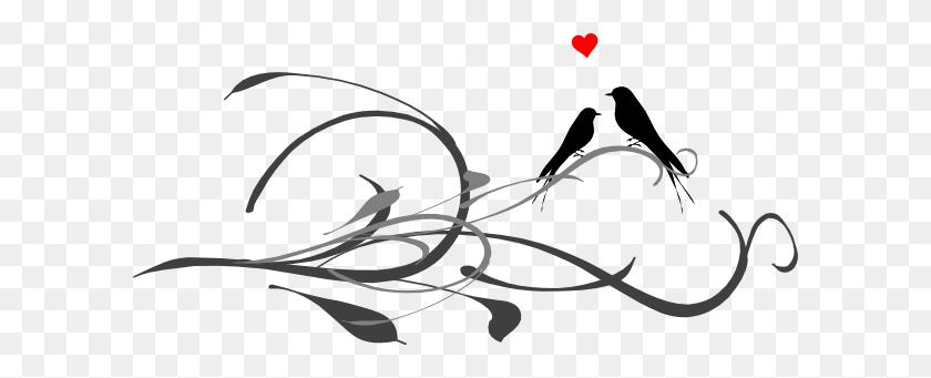 Love Birds On A Branch Black And Grey Clip Art - White Bird Clipart