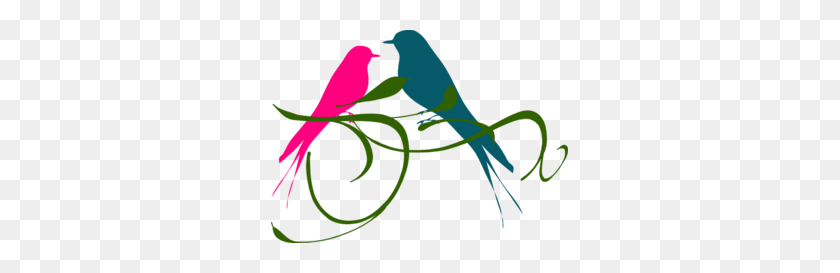 Love Birds Pink And Teal Clip Art - Love Birds Clipart