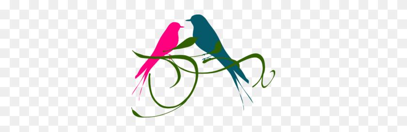 Love Birds Pink And Teal Clip Art - Love Birds Clipart