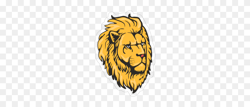 Majestic Lion Head Mascot Sticker - Lion Mascot Clipart
