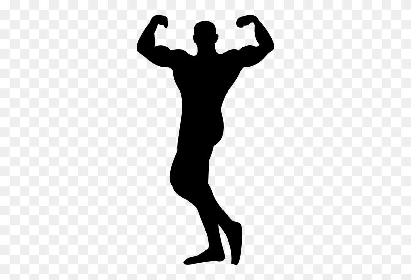 Male Bodybuilder Silhouette Flexing Muscles - Flexing Muscles Clipart