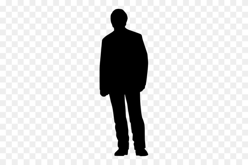 Male Person Standing Silhouette Vector Clip Art - Person Standing Clipart