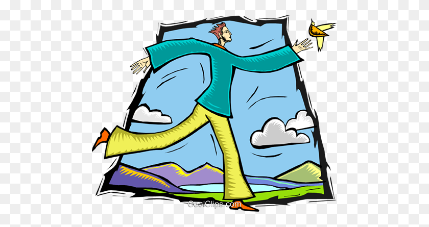 Man Chasing Bird Royalty Free Vector Clip Art Illustration - Bird Watching Clipart