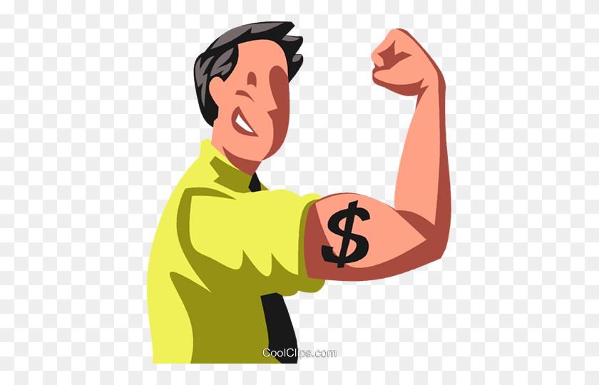 Man Flexing His Financial Strength Royalty Free Vector Clip Art - Strength Clipart
