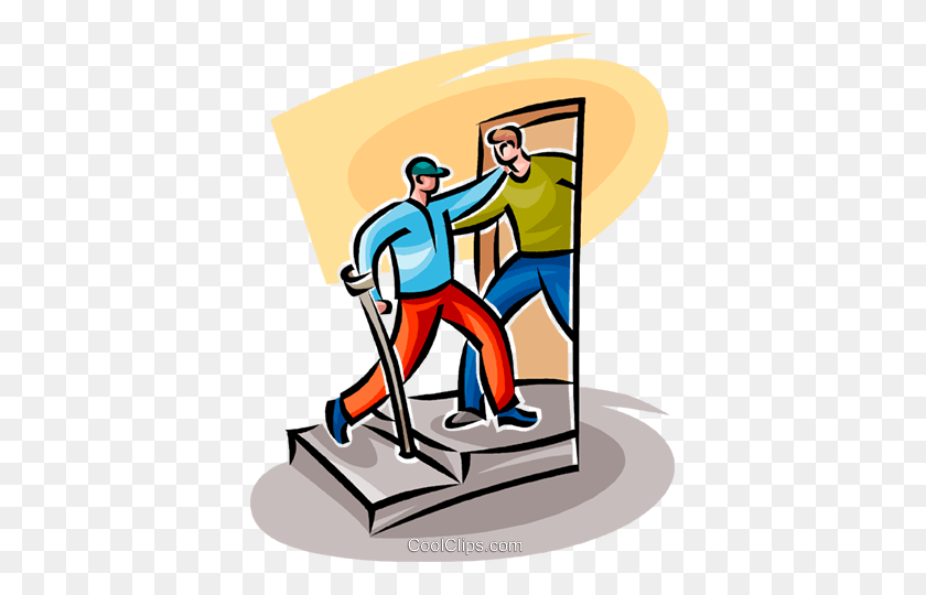 Man Helping A Disabled Person Royalty Free Vector Clip Art - Person Clipart PNG