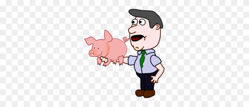 Man Holding A Pig Clip Art - Pig Image Clipart
