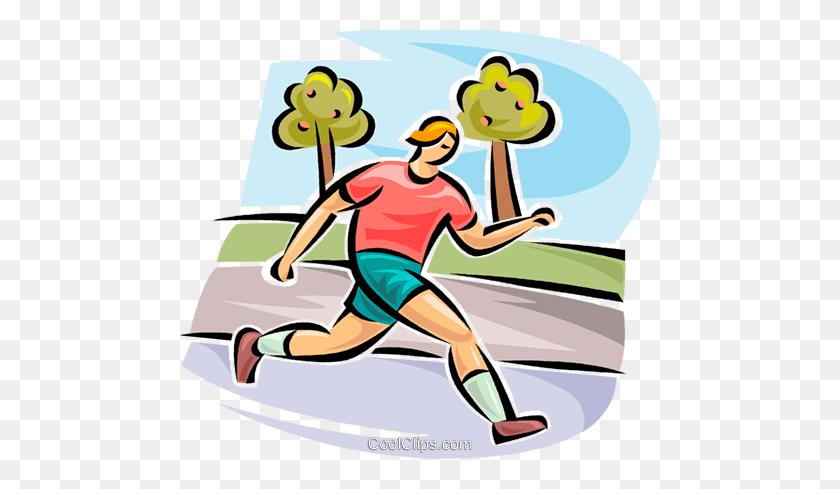 Man Jogging Royalty Free Vector Clip Art Illustration - Jogging Clipart