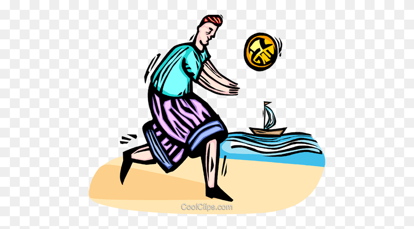 Man Playing Beach Volleyball Royalty Free Vector Clip Art - Playing Volleyball Clipart