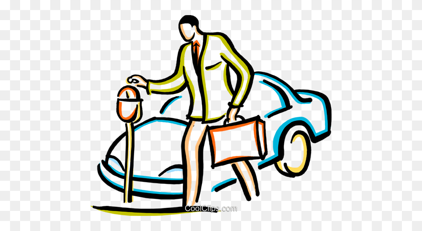 480x400 Man Putting Money Into A Parking Meter Royalty Free Vector Clip - Lots Of Money Clipart