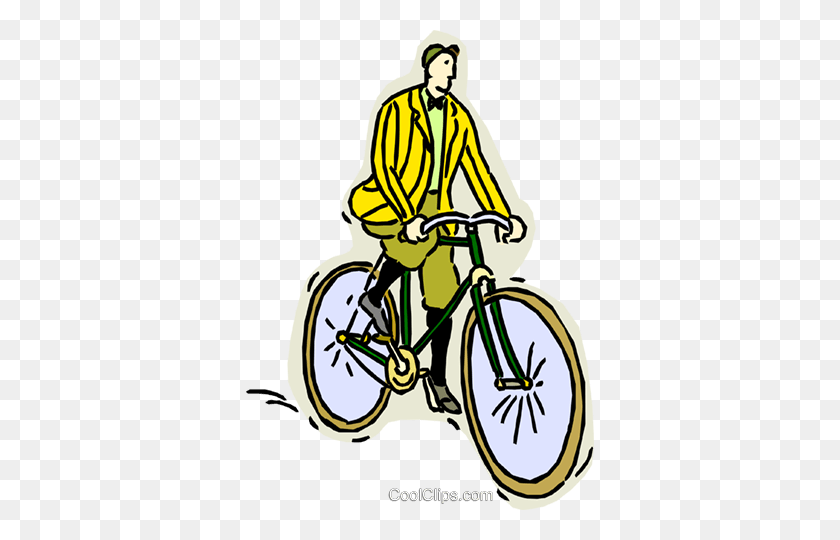 Man Riding Old Fashioned Bicycle Royalty Free Vector Clip Art - Riding Bicycle Clipart