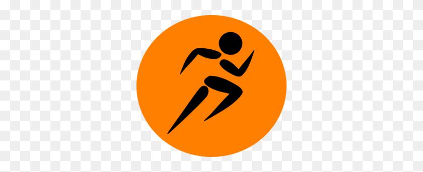 Man Running Orange Clip Art - No Running Clipart
