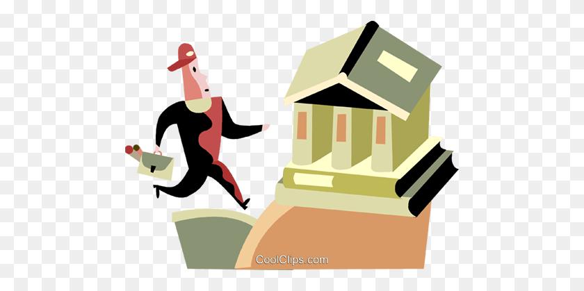 Man Running To The Bank Royalty Free Vector Clip Art Illustration - Running Man Clipart