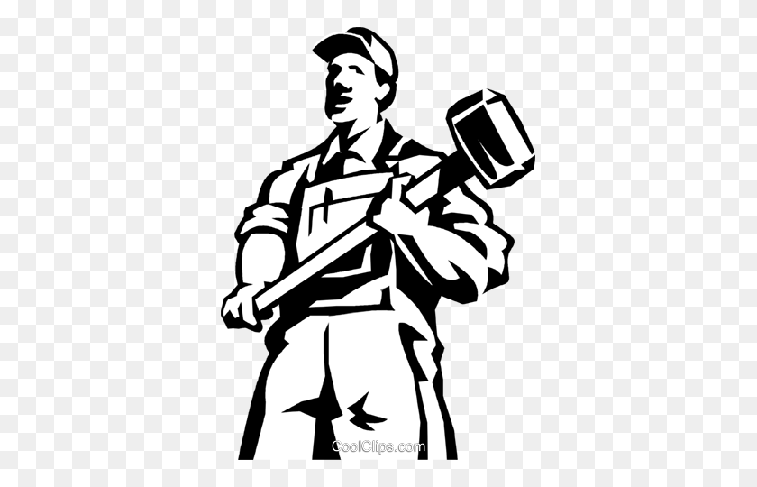 Man Standing With A Sledgehammer Royalty Free Vector Clip Art - Person Standing Clipart