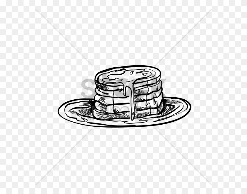 600x600 Maple Syrup Drizzled On Pancakes Vector Image - Maple Syrup Clipart