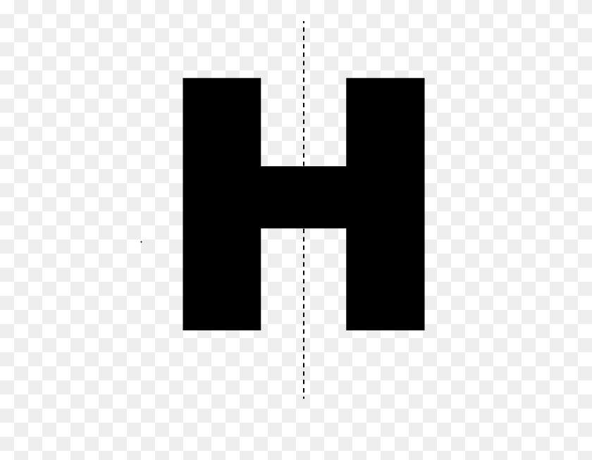 Math Clip Art Bilateral Symmetry Of The Letter H - Letter H Clipart