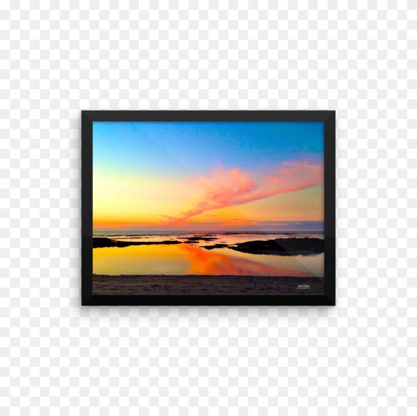 Mauna Lani Tide Pool Sunset Framed Photo Paper Shella Island - Sunset Sky PNG