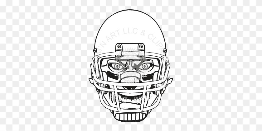 Mean Face In Football Helmet - Football Helmet Clipart Black And White