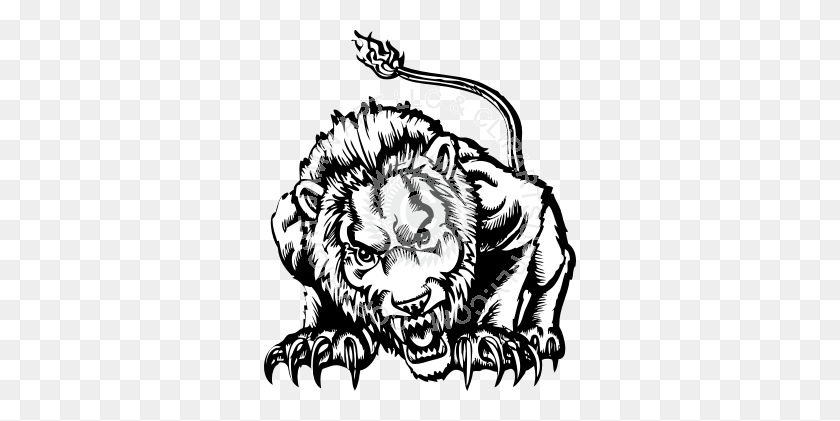 Mean Lion Crouching - Lion Mascot Clipart