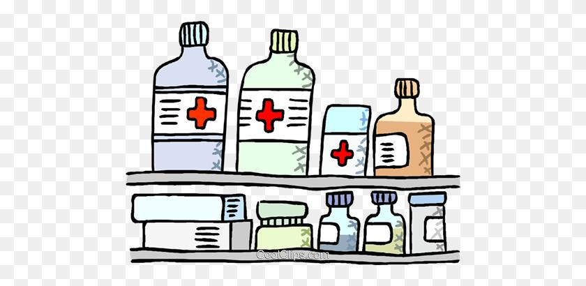 Medication Displayed On Shelves Royalty Free Vector Clip Art - Medication Clipart