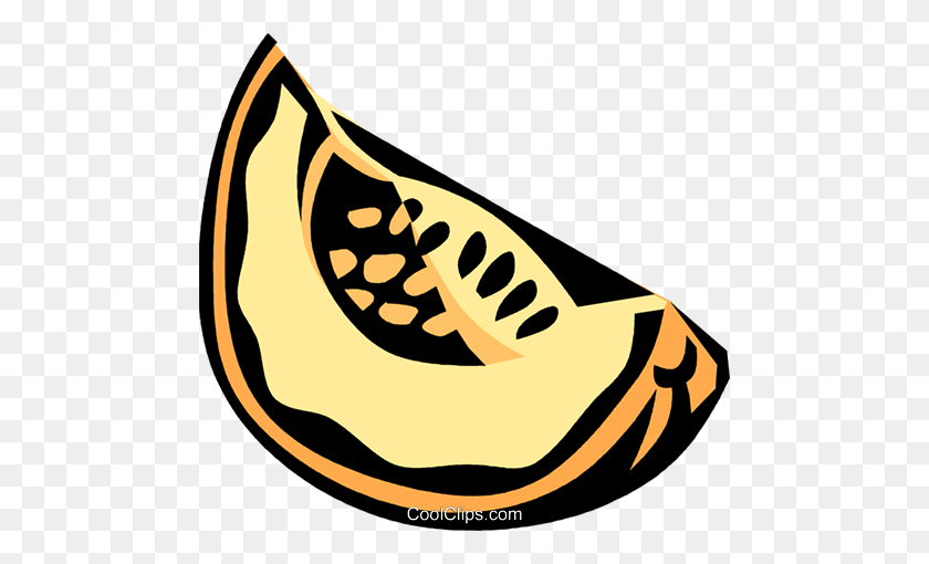480x450 Melon Slice Royalty Free Vector Clip Art Illustration - Melon Clipart